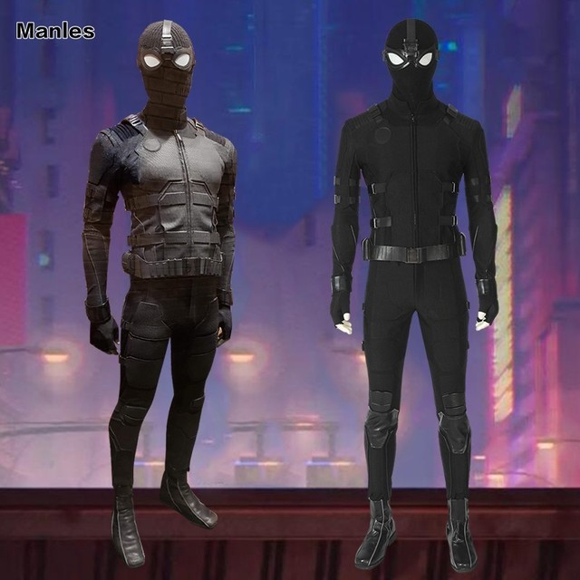 Spiderman Far From Home Stealth Suit Spider-man Noir Cosplay Costume Superhero Outfit Black Halloween Adult Men Custom Made