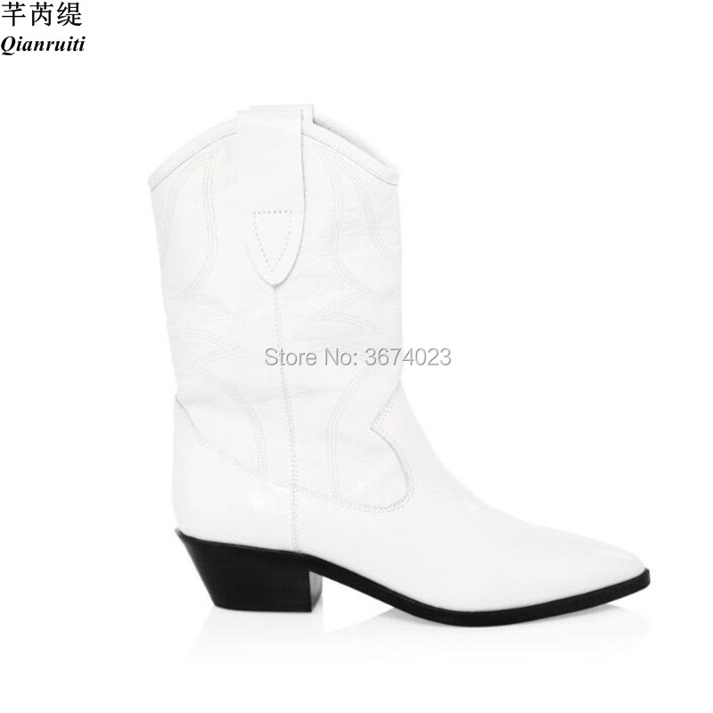 26956b09544 US $76.05 35% OFF|Qianruiti Fashion Boots Women White Mid calf Cowboy Boots  Pointed Toe Thick Low Heels Slip On Booties Autumn Winter Botas Mujer-in ...