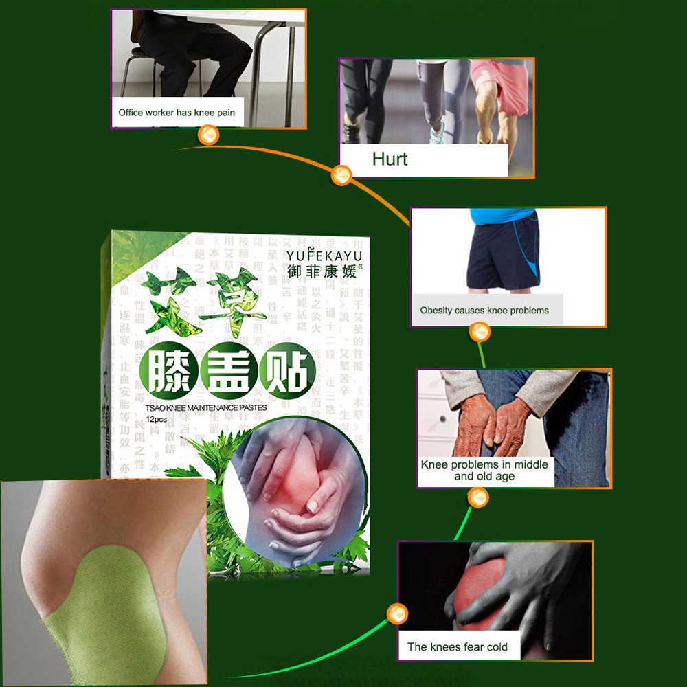 12 unids//caja Parche de alivio del dolor Articulaci/ón de la rodilla Dolor para aliviar el dolor Parche de rodilla Artritis reumatoide Parches del cuerpo