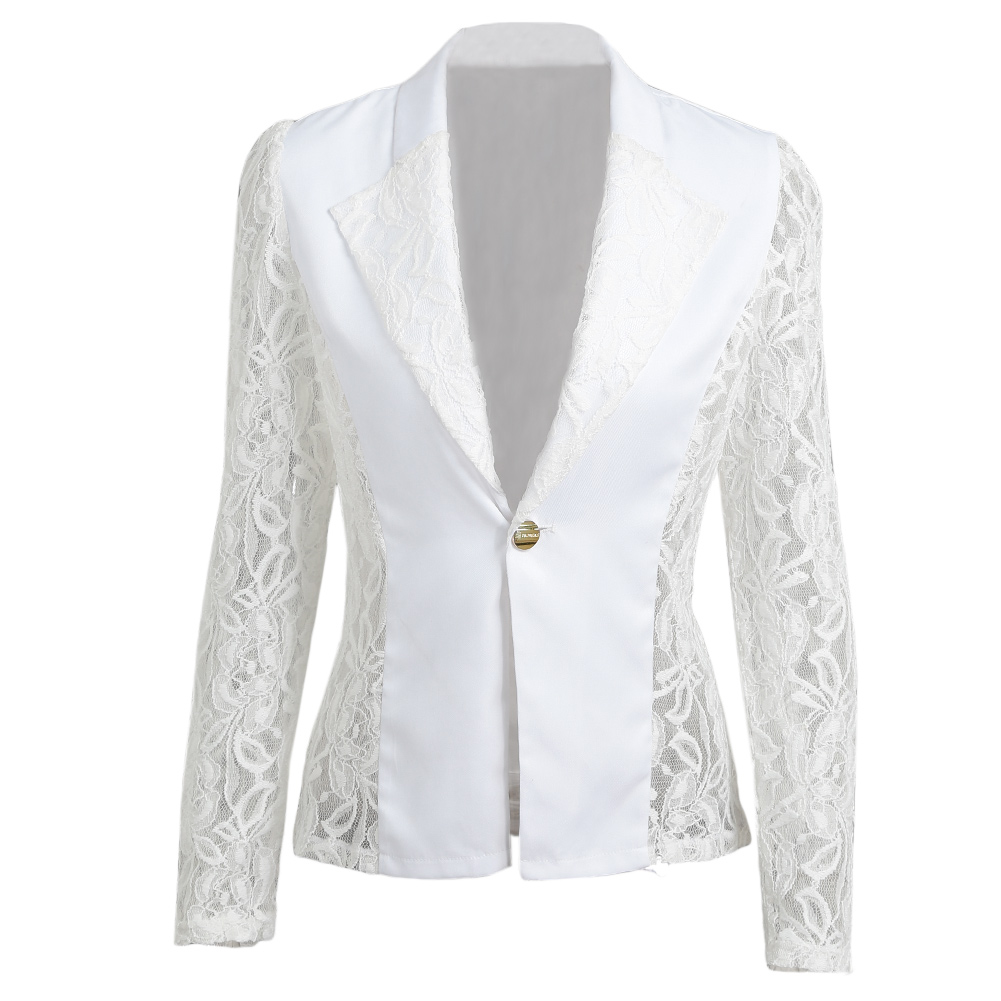 3XL Plus Size Women Blazer 2020 Autumn Sheer Lace Floral Coats Patchwork Jacket Feminina Slim Ladies Elegant OL Office Blazer
