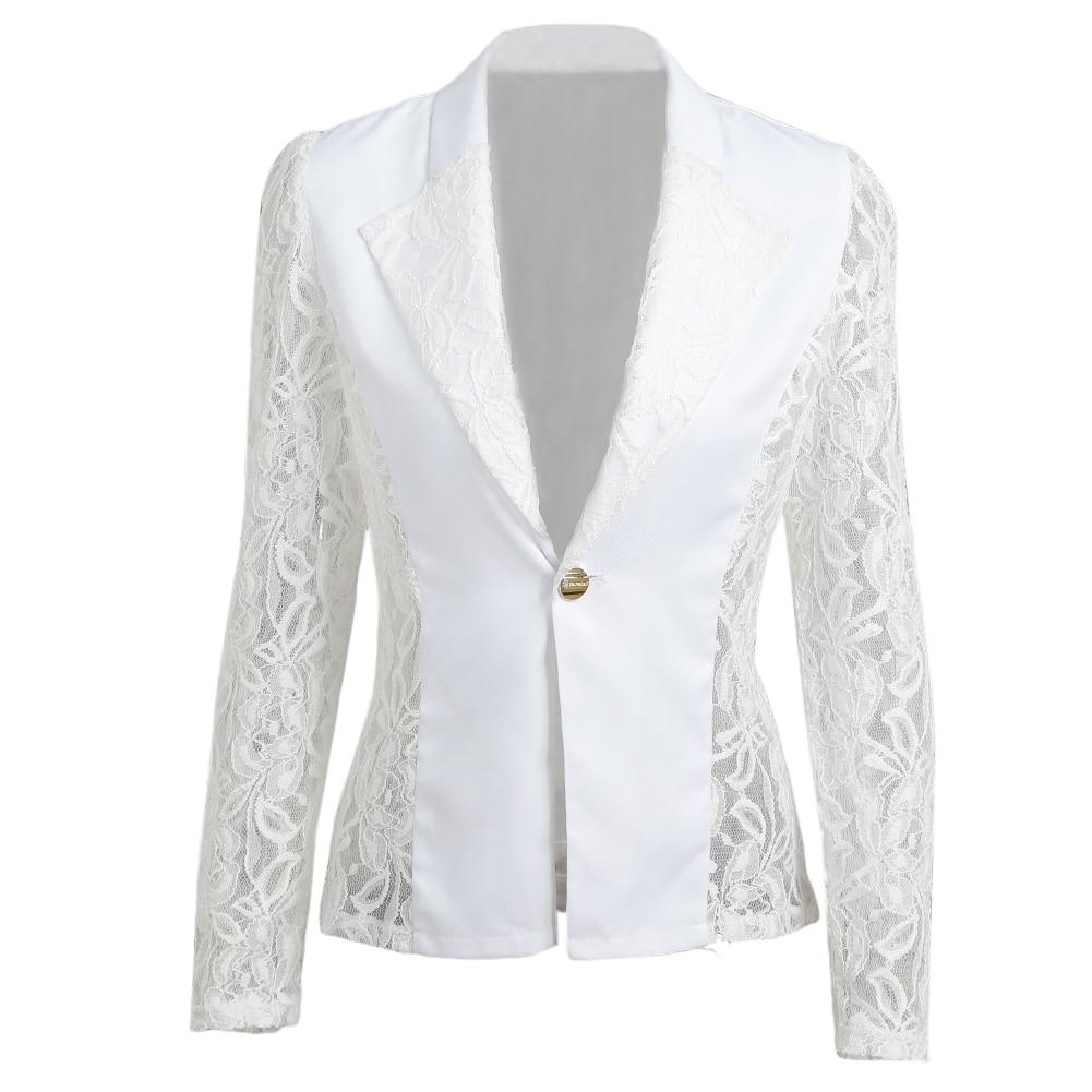 3XL Plus Size Women Blazer 2020 Autumn Sheer Lace Floral Coats Patchwork Jacket Feminina Slim Ladies Elegant OL Office Blazer