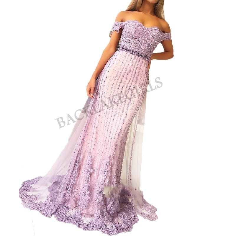 New Fashion Lavender   Prom     Dress   2019 vestido de fiesta Sexy Off Shoulder Lace Tulle Evening Party   Dresses   Sleeveless