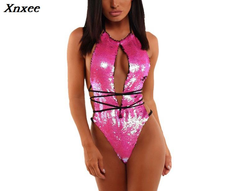 Xnxee <font><b>green</b></font> sequin bodysuit body suits for <font><b>women</b></font> backless <font><b>sexy</b></font> romper <font><b>women</b></font> streetwear clothing overall clothes suspenders 2018 image
