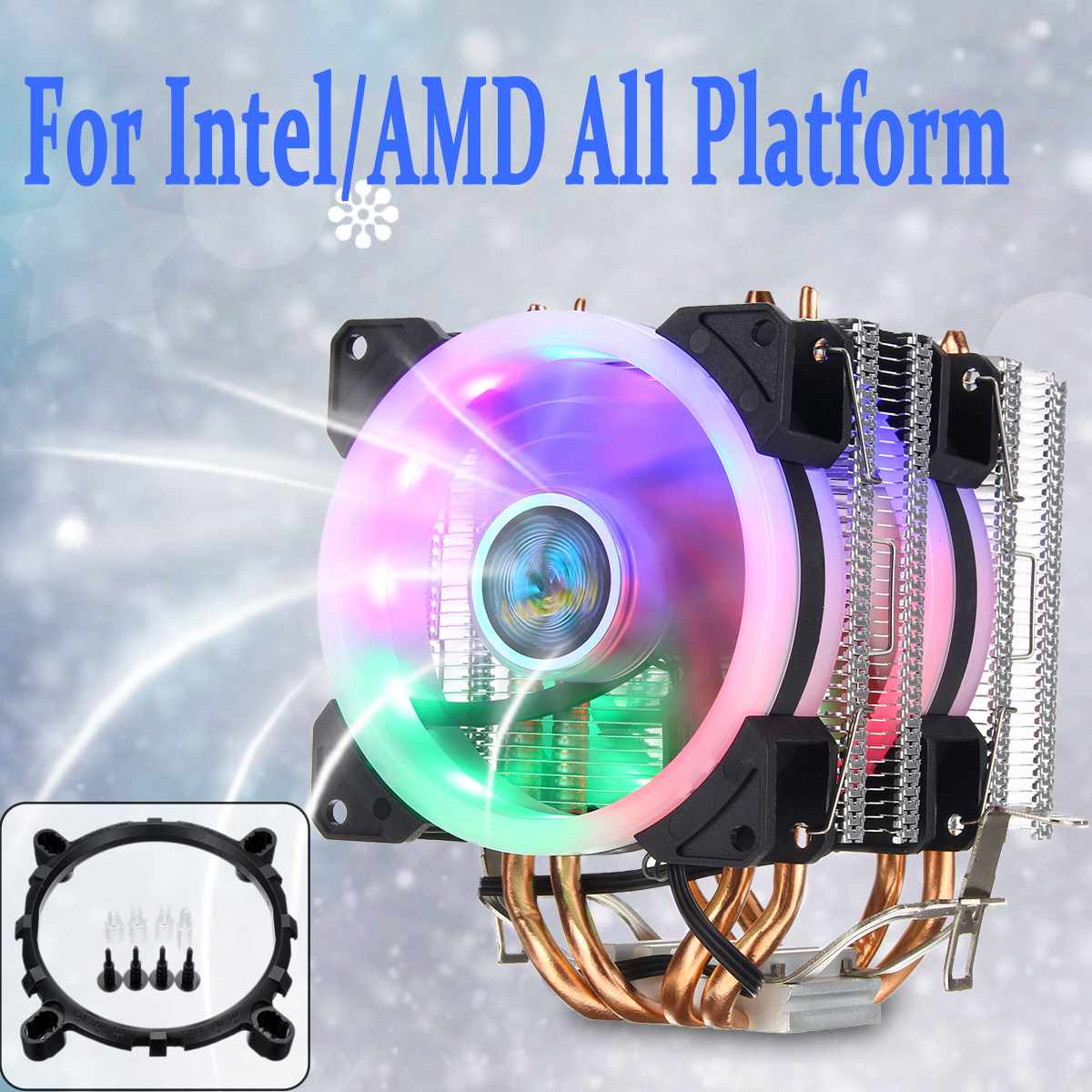 US $18 87 41% OFF|6 Heat Pipe CPU Cooler for Intel LAG  1155/775/1150/1151/1156/1366 for AMD Socket AM3/AM2 RGB LED CPU Fan Cooler  Cooling Heatsink-in