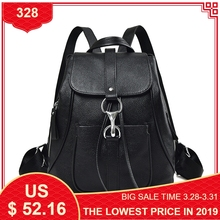 Купить с кэшбэком Black Fashion Women Backpack First Layer of Cow Genuine Leather Schoolbags For Girls Female Travel Bags Backpacks Mochila Mujer