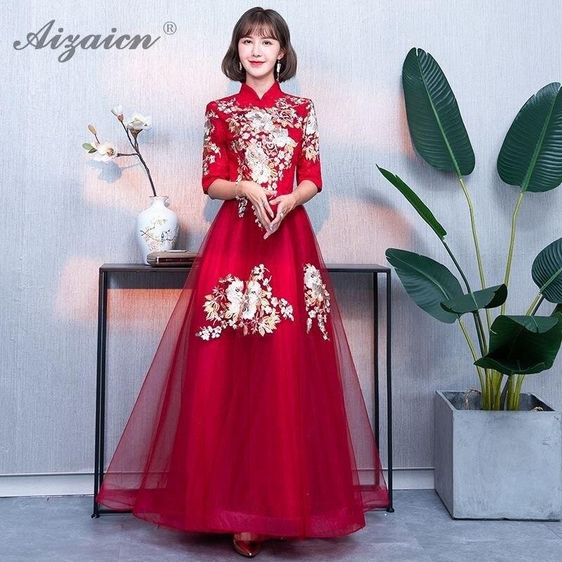 Broderie rouge robes de soirée chinoises longue Cheongsam femmes mariage Qipao 2019 mode coréenne demoiselle d'honneur filles robe de princesse