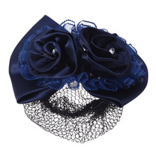 HTHL-Women Dark blue double flower butterfly knot cover Hair clip with hairnet net(China)