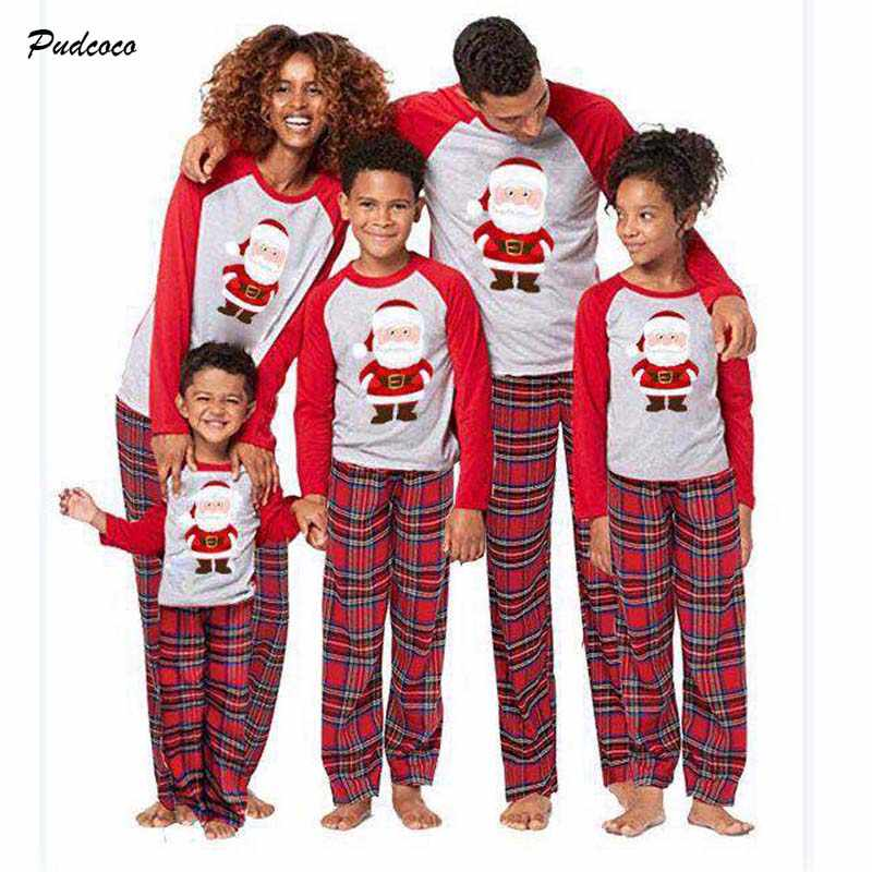 e736fccac2 2018 Christmas Family Matching Santa Pajamas Set Winter Santa Claus Adult  Kid Women Men Kid Baby