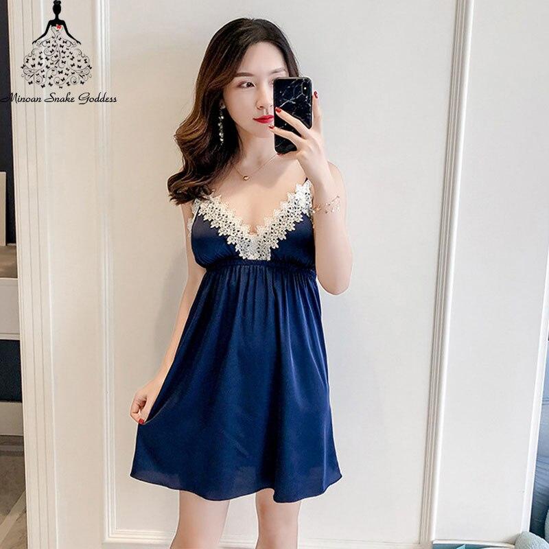 Women's Sleep Lounge   Nightgowns     Sleepshirts   Sleepwear Nightie Night Dress Lingerie Femme   Nightgown   With Chest Pad Nightwear