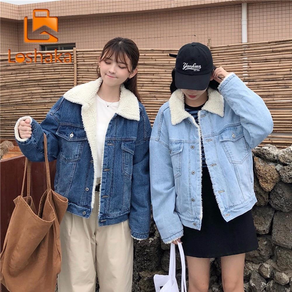 LOSHAK 2018 New Autumn Winter Fashion Denim Winter Jackets Women Casual Fur Basic Jackets Loose Warm Top Female Parka Outerwear
