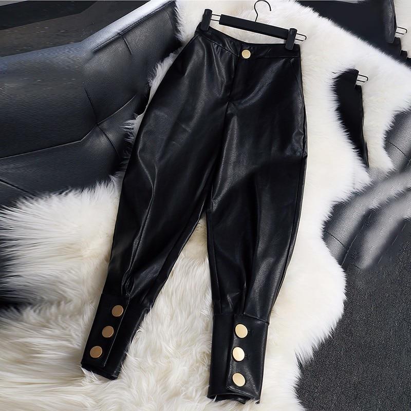 LANMREM 2018 新ファッション品質 Pu レザー女性のカジュアルハイウエストズボン人格 YG07101  グループ上の レディース衣服 からの パンツ & カプリパンツ の中 2