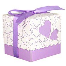 PPYY NEW-50x фиолетовая коробка Саше бумажный Dragees крещение свадебный подарок