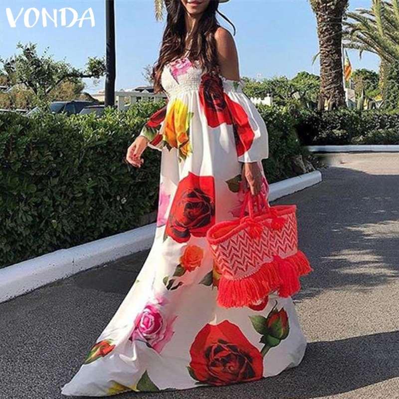 2020 VONDA Bohemian Vestidos Women Summer Dress Beach Sexy Off Shoulder Floral Print Maxi Long Dresses Holiday Plus Size 5XL