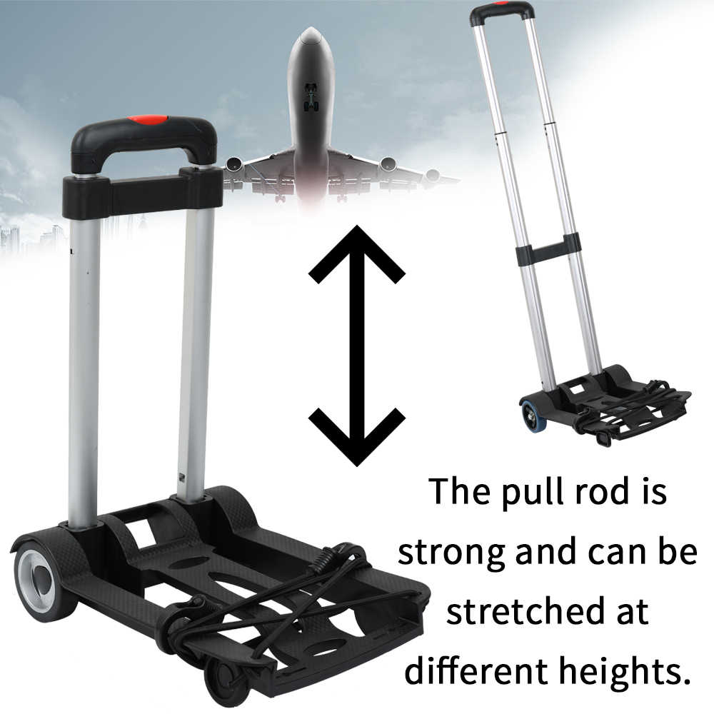 Portátil plegable de dos ruedas equipaje viaje de compras carro de remolque de plataforma plana de Barrow