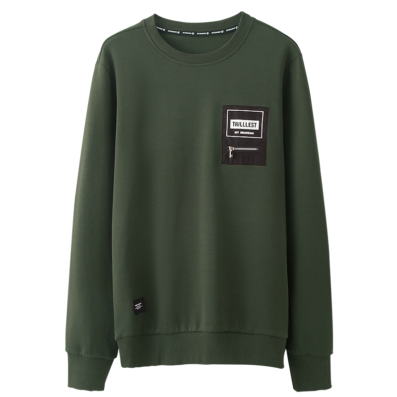 Autumn Men Sweatshirt Zipper Print Letter Army Green Color Pullovers For Man Casual Fashion Clothes 2019 New Male Wear Tops  314