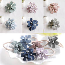 New Fashion Women Flower Pearl Ponytail Holder Elastic Hair-Band Hair Accessories Ropes Sweet Girls Hairband(China)
