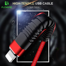 цена на FLOVEME USB Cable For iPhone 11 Pro XR 7 8 1M 2M Tensile Braid Fast Charging durable Data Cord Phone Cable For iPad Sync Cables