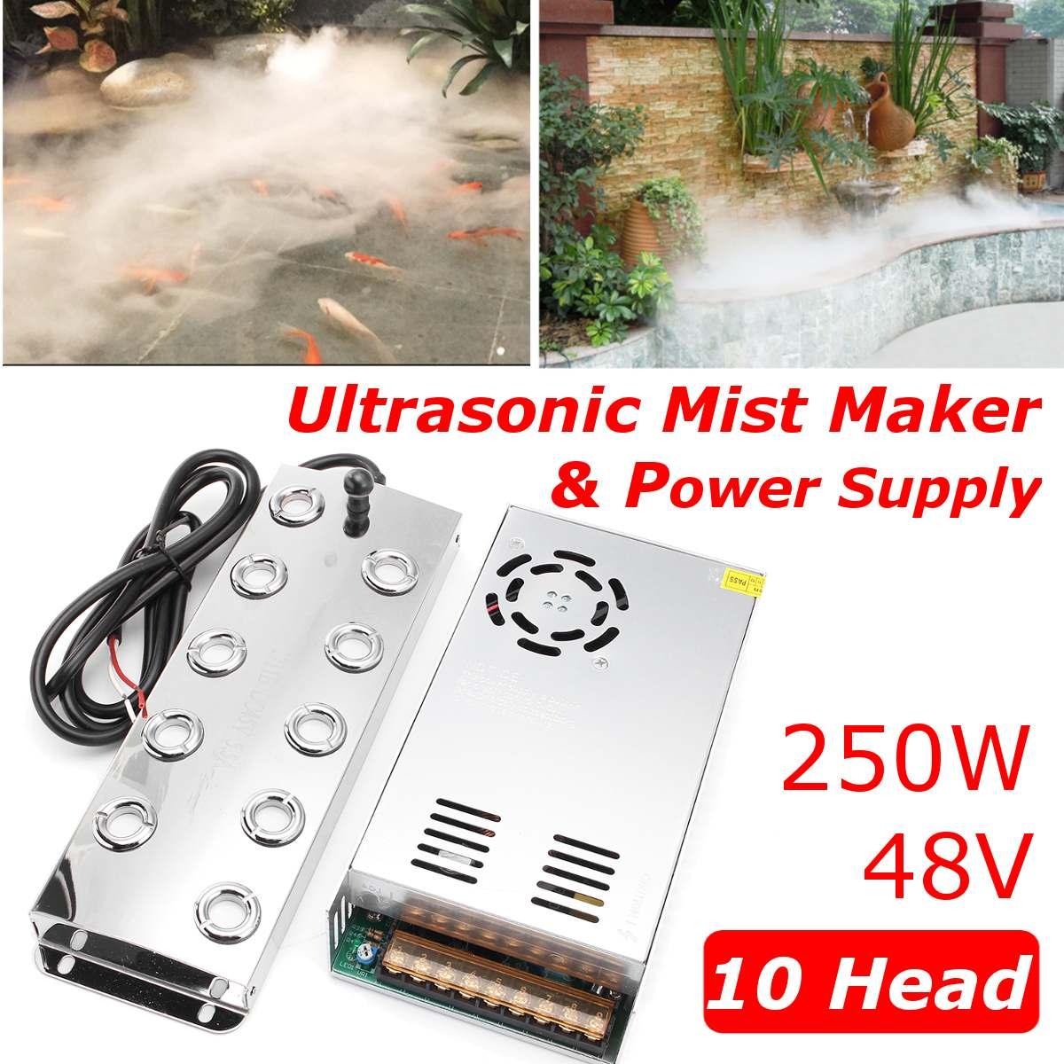 Newest 5000ML/H 10 Head Ultrasonic Mist Maker Fogger Stainless Steel Air Humidifier Greenhouse Aeromist Hydroponics+Transformer