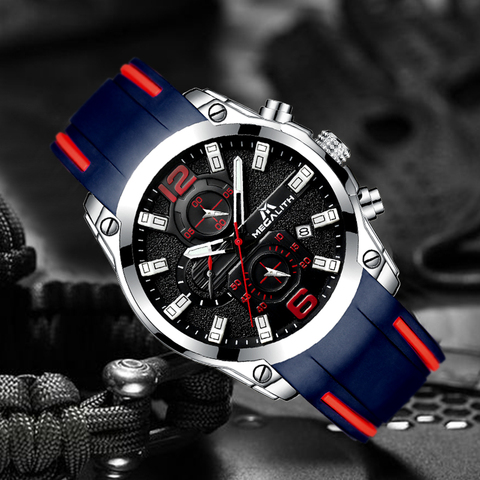 MEGALITH Men Watches Sports Waterproof Chronograph Analog Quartz Watches Luminous Hands Silicone Strap Watches Relogio Masculino Islamabad