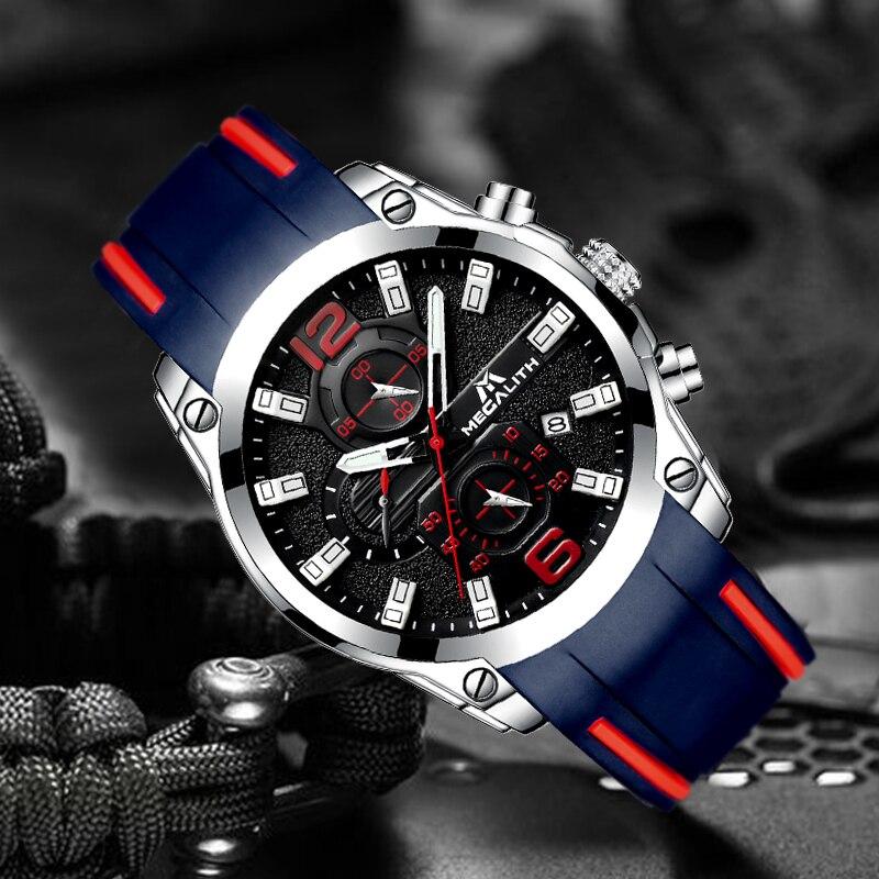 Image 4 - MEGALITH мужские часы спортивные водонепроницаемые аналоговые кварцевые часы с хронографом светящиеся стрелки силиконовый ремешок часы Relogio Masculino-in Спортивные часы from Ручные часы on AliExpress - 11.11_Double 11_Singles' Day