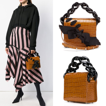 Women's Handbags Chain Cross Body Bag Bow Woven 2018 New Crocodile PU Leather Shoulder Messenger Handbag Small Square Bag