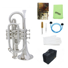 ammoon Cornet Professional Bb Flat Cornet Brass Instrument with Carrying Case Gloves Cleaning Cloth Brushes