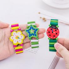 Babys Kids Cartoon Wooden Crafts Wristwatches Bracelet Watch Toy Children Student Xmas Toys Gift Random Style Color