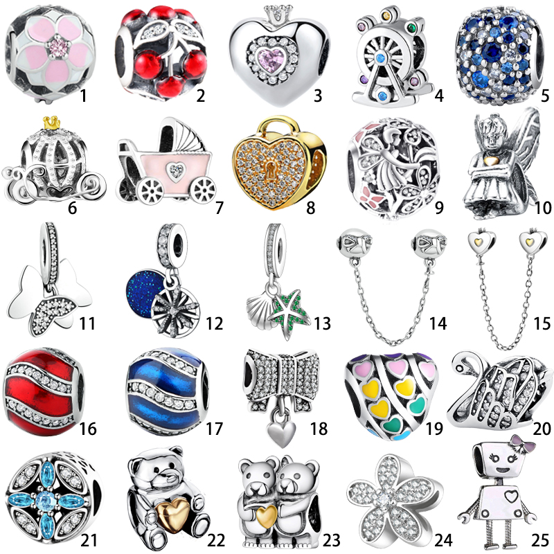 European S925 Silver Charms Pandant Bead Fit Sterling Silver Bracelets Bangles Chain Original Fashion DIY Jewelry Making Gift