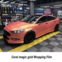 New Color Car Vinyl Wraps! Car Foil Coral pink orange wrapping film Best Quality Germany solvent based low initial tack adhesive