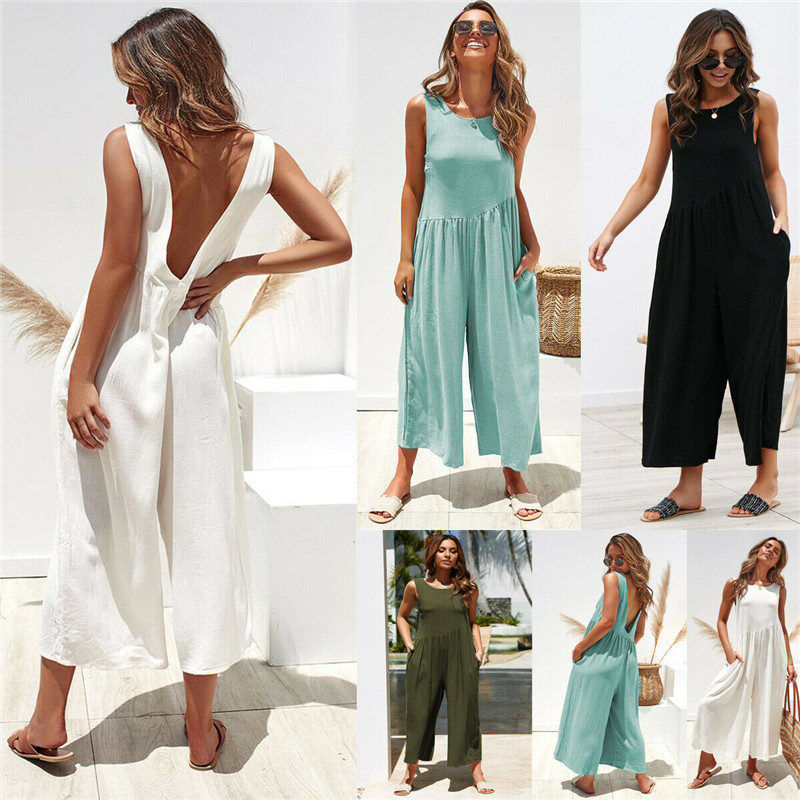 2019 Summer Hot Women   Jumpsuit   Fashion Sleeveless   Jumpsuit   Romper Casual Leisure Backless Loose 4 Color Clothes Clothings S-XL