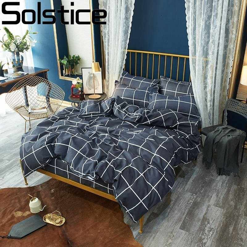 Solstice Grid Stripe Bedding Sets Soft Tidy Cotton Bed Linings Duvet Cover Pillowcase Bed Sheet Twin Full Queen King Size 3-4pcs