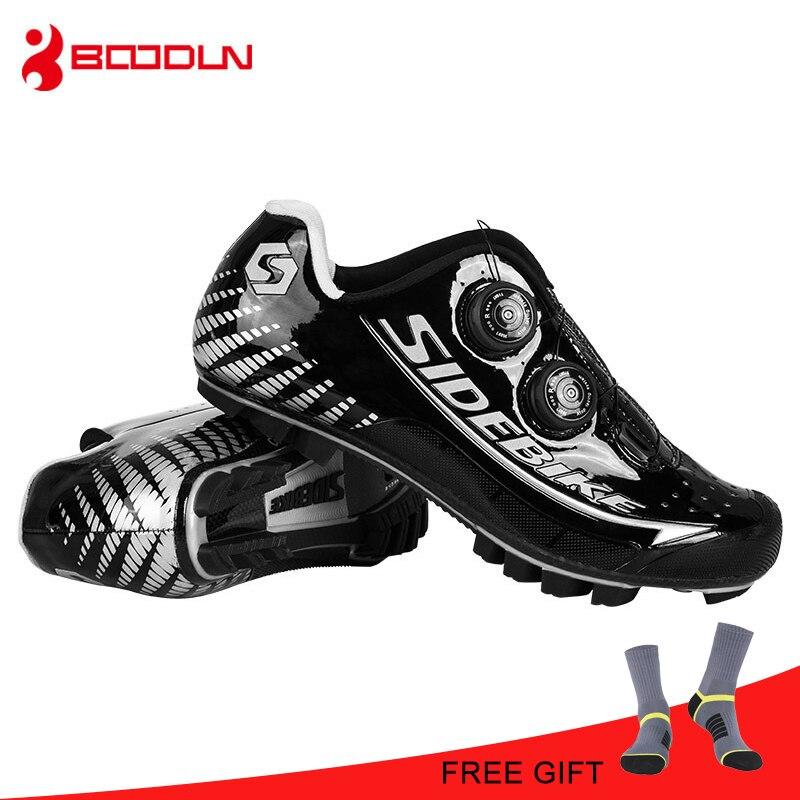 SIDEBIKE MTB In Fibra di Carbonio Ultraleggero Nero Argento Impermeabile Professionale Uomini di Atletica Mountain autobloccante Scarpe Da Ginnastica