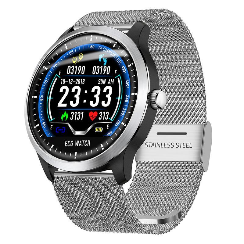 ECG ECG + PPG Bluetooth4.2 N58 Esportes Relógio Inteligente VFC IP67 Relatório de Monitorização da Pressão Arterial Heart Rate Pedômetro Pulseira Inteligente