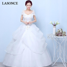 LASONCE Short Cap Sleeve Tiered Tulle Ball Gown Wedding Dresses Crystal Sweetheart Lace Appliques Bridal Dress tiered bell sleeve fitted lace dress