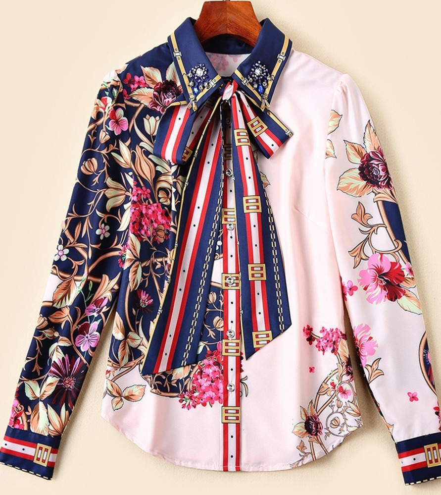 Women Runway Shirts 2019 Fashion Lace Up Bow Floral Print Patchwork Elegant Long Sleeve Blouse Shirt Ladies Workwear Office Tops