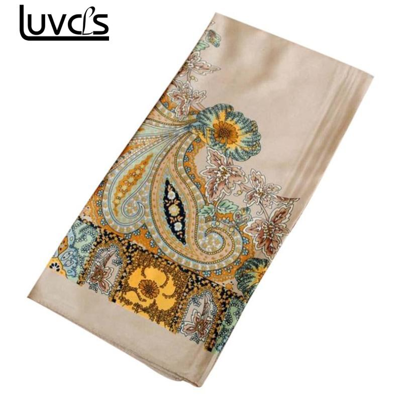LUVCLS Women Shawl Design Square Silk   Scarf   Women Foulard Printed Ladies   Scarf   Hijab Elegant Headband Ring   Scarves     Wraps   90*90cm