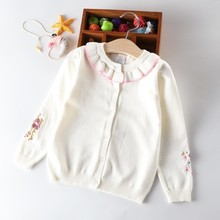 baby cardigan for girls sweaters embroidery flower ruffles childrens clothing kids pullover boutiques autumn winter