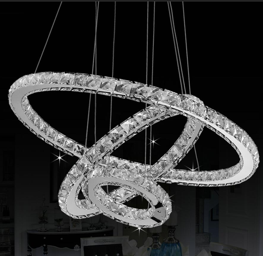 New High-power Led Pendant Lights Led Lamps Led Lustre K9 Crystal Pendant Lamps Stainless Steel Ring Crystal Pendant LampNew High-power Led Pendant Lights Led Lamps Led Lustre K9 Crystal Pendant Lamps Stainless Steel Ring Crystal Pendant Lamp