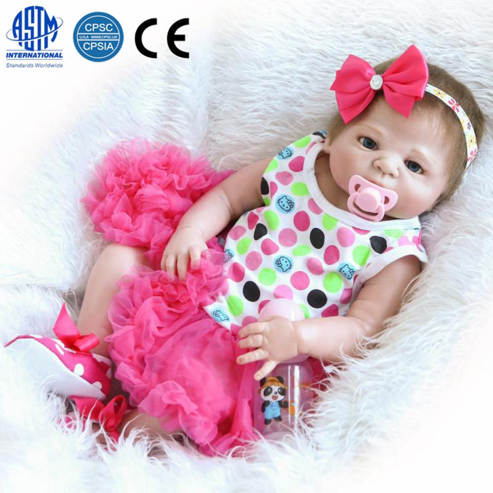 23 Inch Beautiful Full Simulation Silicone Baby Girl Reborn Baby Doll In Dress With A Pacifier And A Nursing Bottle Great Gifts23 Inch Beautiful Full Simulation Silicone Baby Girl Reborn Baby Doll In Dress With A Pacifier And A Nursing Bottle Great Gifts