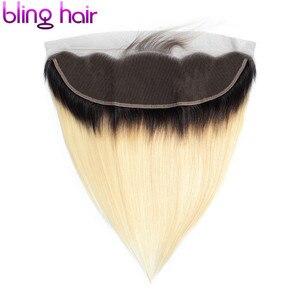 Image 4 - Bling cabelo 613 loira brasileira em linha reta rendas frontal encerramento 13*4 com o meio do cabelo do bebê/livre/três parte remy fechamento do cabelo humano