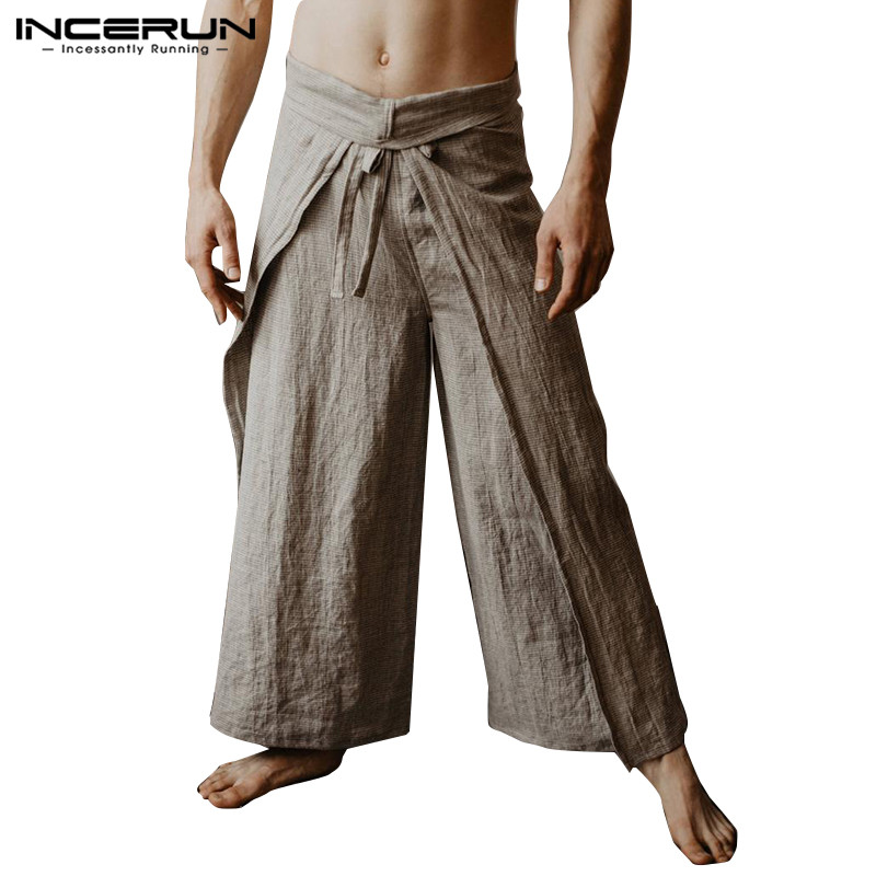 INCERUN 2019 Mens Thai Fisherman Pants Wraps Solid Joggers Vintage Women Yoga-pants Loose Lace Up Wide Leg Massage Trousers Men