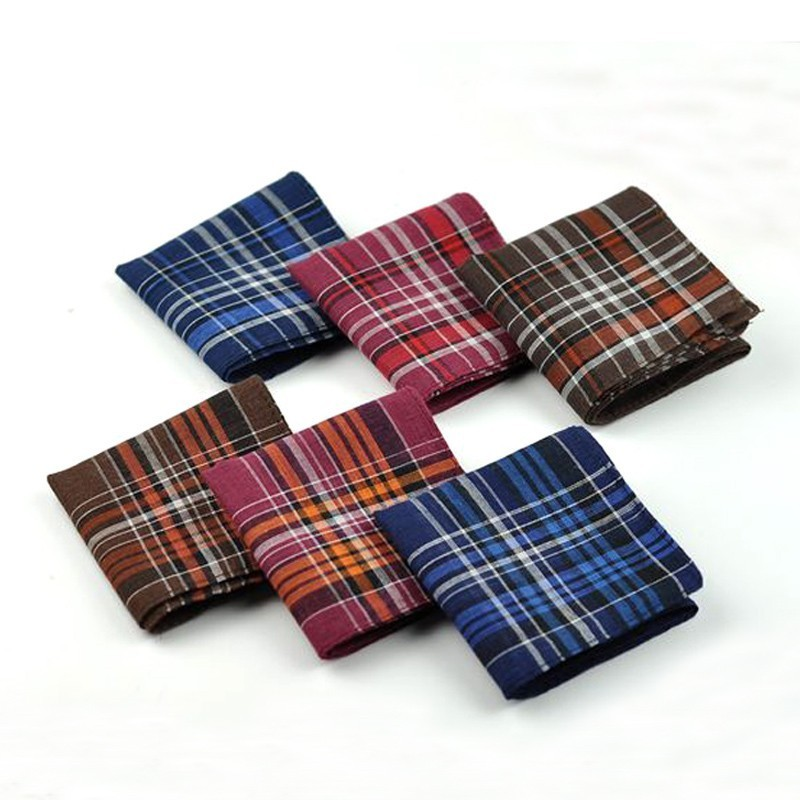 10pcs/lot Striped Plaid Christmas Festival Handkerchief Cotton Fabric Hanky Party Handkerchiefs Casual Unisex Pocket Square