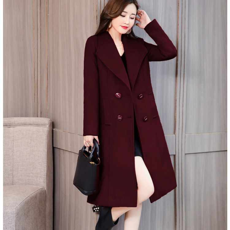 New Autumn Winter Women Slim Woolen Coat Casual Turn-Down Collar Long Cashmere Coat Black Red Burgundy Plus Size Overcoat