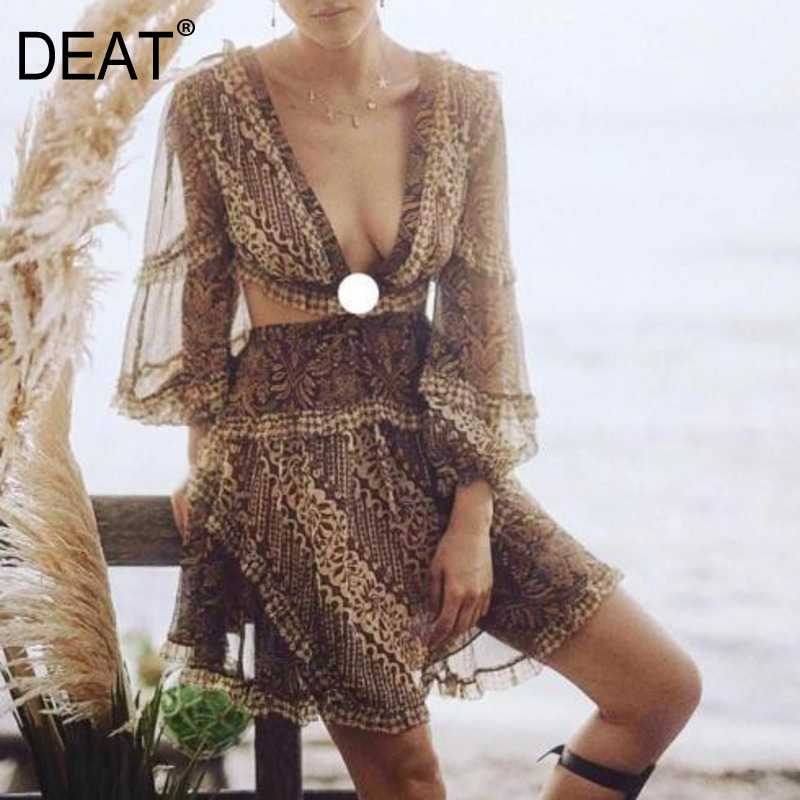 DEAT 2018 new fashion Eorupe women clothes V neck deep lantern sleeve strapless back hollow out sexy printed female dress WB4401-in Dresses from Women's Clothing    1