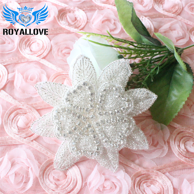 Crystal Flower Rhinestone Applique Wholesale Bridal Trim Bridal Applique  DIY Hair Piece Rhinestone Garter Applique Baby Headband 09cfd2b85ccb