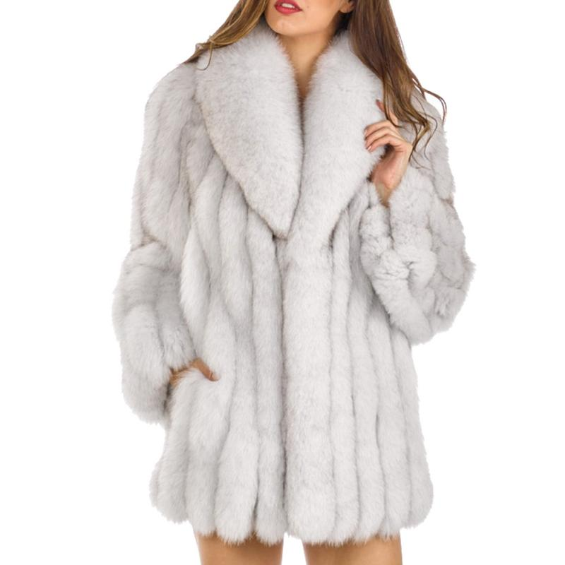 S-4XL Mink Coats Women 2018 Winter New Fashion FAUX Fur Coat Elegant Thick Warm Outerwear Fake Fur Jacket Chaquetas Mujer Coat