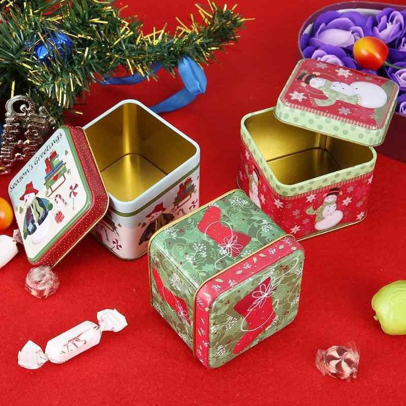 Cute Christmas Mini Gift Package Tin Box Candy Baking Cookies Biscuit Case
