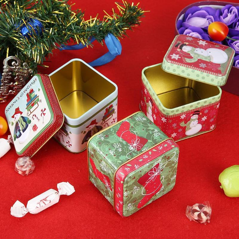 Cute Christmas Mini Gift Package Tin Box Candy Baking Cookies Biscuit Case image