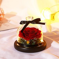 Rose Box Preserved Flower Valentine'S Day Christmas Gift Roses Glass Bell Cover Lovers Girlfriends Gifts Recommend