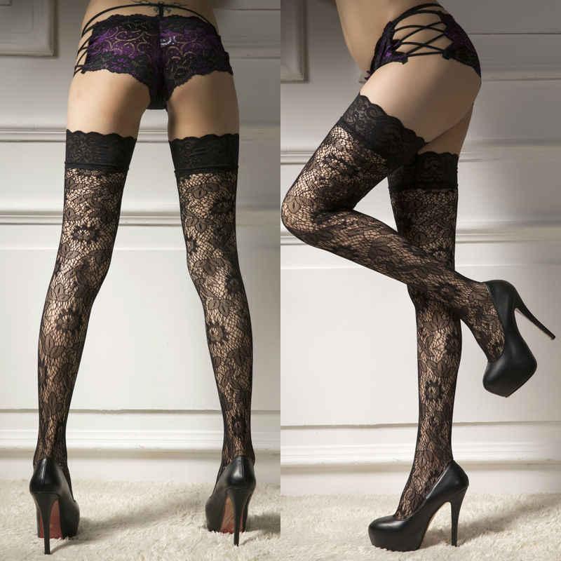 Sexy Casual kobiety panie ultracienkich Sheer Lace Top Up Over kolana udo wysokie jedwabne pończochy rajstopy gorący czarny